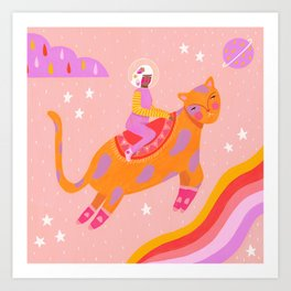 Space lady and cat Art Print