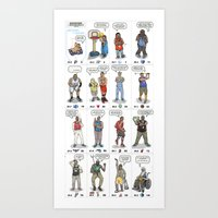 nba Art Prints featuring NBA Ageisms by Bouncex3