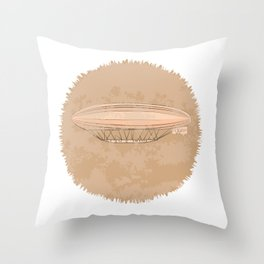 Airship in graphic style. Beige colors.  Throw Pillow