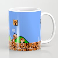 mario bros Mugs featuring Super Mario Bros by Trash Apparel