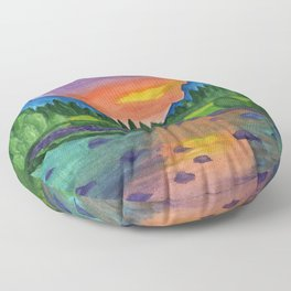 Mountain river in the background of the forest and the blue mountains at sunset Floor Pillow