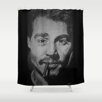 johnny depp Shower Curtains featuring Johnny Depp Drawing by Aline !
