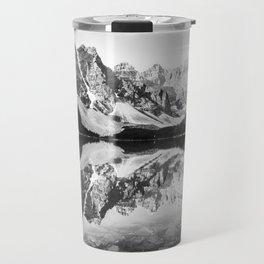 Moraine Lake Reflection Black and White Travel Mug