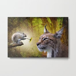Canadian Lnx and Squirrel Metal Print