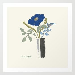 Blue Poppy in Grey Vases Art Print