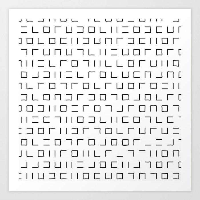 Code Breaker - Abstract, black and white, minimalist artwork Art Print