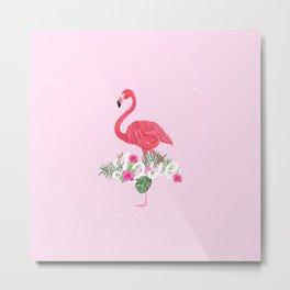 Elegant pink tropical flamingo flowers love typo Metal Print