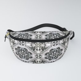 Portuguese Tiles Azulejos Black White Pattern Fanny Pack
