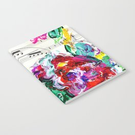 Musical Beauty - Floral Abstract - Piano Notes Notebook