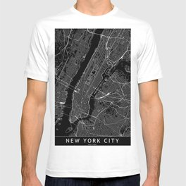 New York City Black Map T-shirt