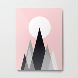 Minimalist mountains and pink Metal Print