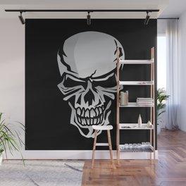 Chrome Skull Illustration Wall Mural