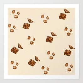 watercolor chocolate with coffee beans Art Print