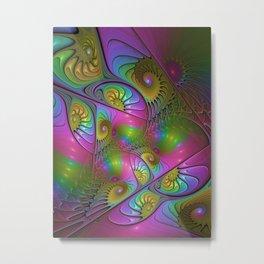 Colorful and Luminous Fantasy Fractal Art Metal Print