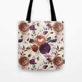 Vivid Plum and Orange Blossom with Feathers on Cream  Tote Bag