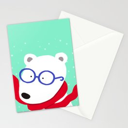Hipster Polar Bear Stationery Cards