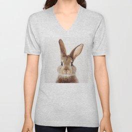 Baby Rabbit, Baby Animals Art Print By Synplus Unisex V-Neck