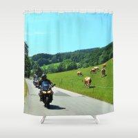 motorbike Shower Curtains featuring On the Motorbike trough AUSTRIA 01 by MehrFarbeimLeben