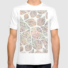 Soft Color Abstract Leaf Scatter White MEDIUM Mens Fitted Tee