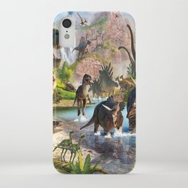 Jurassic dinosaurs in the river iPhone Case