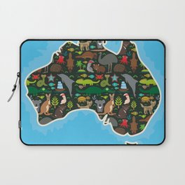 map of Australia. Wombat Echidna Platypus Emu Tasmanian devil Cockatoo kangaroo dingo octopus fish Laptop Sleeve