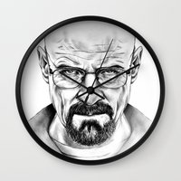 walter white Wall Clocks featuring Walter White by 13 Styx