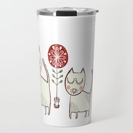 Cat couple and their plants. Travel Mug
