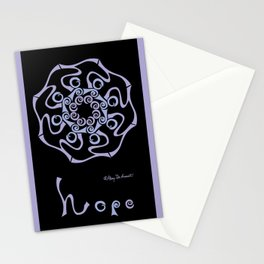 "Hope Mandala with ""hope"" - Lavender Black Stationery Cards"