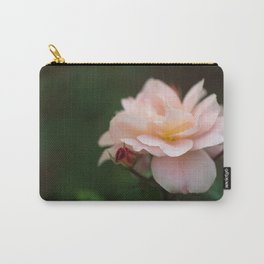 Creme Color Rose with Red Buds Carry-All Pouch