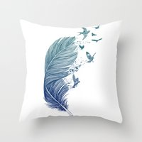 fly Throw Pillows featuring Fly Away by Rachel Caldwell