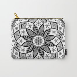 Mandala black white art pattern floral design Carry-All Pouch