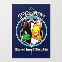 starfox Canvas Prints featuring Mercernary Unit: STAR FOX by RuiShi