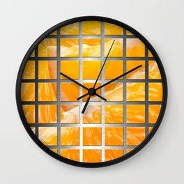 Orange Slices & Square Grid Collage Metallic Wall Clock