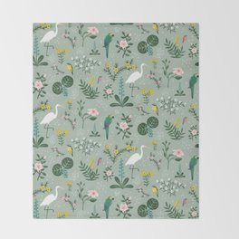 """""""Tropical Birds and Flowers"""" on Sage Green by Bex Morley Throw Blanket"""