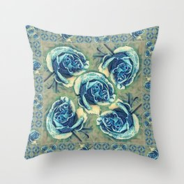 Blue Rose Garden Quilt Square Throw Pillow