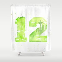 seahawks Shower Curtains featuring 12th Man Seattle Art by Olechka