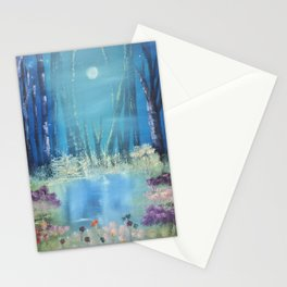 Nightfall at the pond Stationery Cards