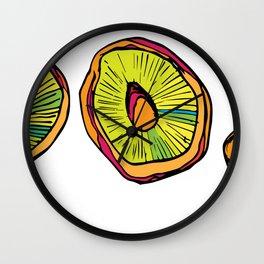 Neon Mushroom Caps Wall Clock