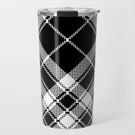 Black & White Plaid Travel Mug