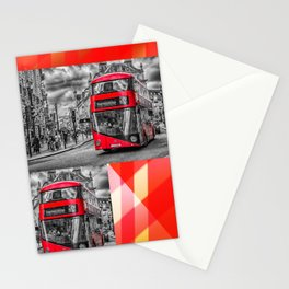 London Red Bus at Piccadilly Stationery Cards