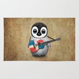 Baby Penguin Playing Dominican Flag Acoustic Guitar Rug