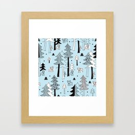 Scandinavia winter forest Framed Art Print