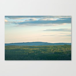 Pink Skies, Blue Hills and Golden Trees Canvas Print