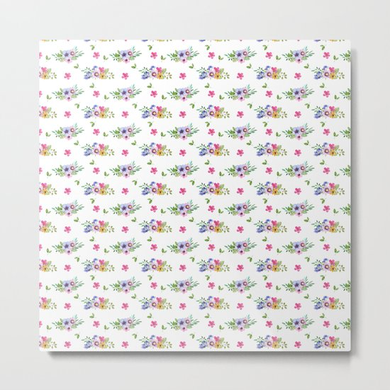 Tiny Flowers Ditsy Floral Metal Print