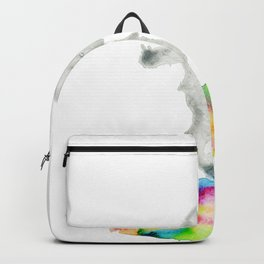 Girl jumping rainbow puddle Backpack