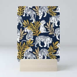 Nouveau white tigers // navy blue background yellow leaves silver lines white animals Mini Art Print