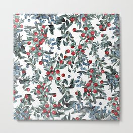 Festive Christmas Berries Pattern Metal Print
