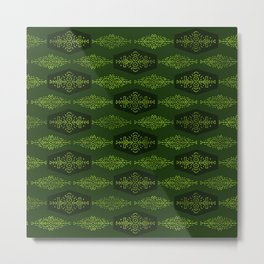 Ethnic Tribal Pattern on green Metal Print