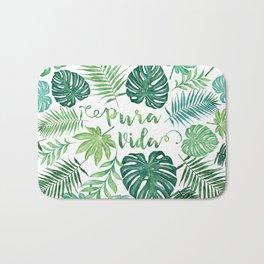 Tropical Pura Vida Palm Leaves and Monstera Watercolor Bath Mat