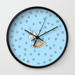 Pastel Unicorn Wishes You a Merry Christmas Wall Clock